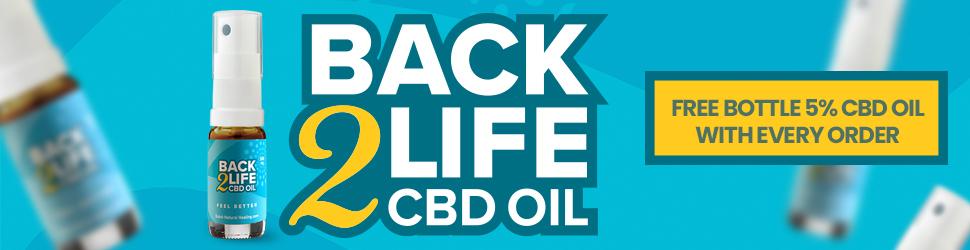 GRATIS flesje Back2Life 5% CBD olie bij elke bestelling